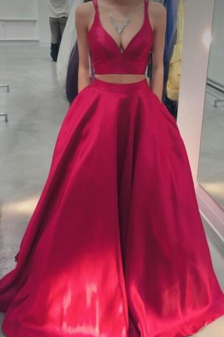 Two Piece Prom Dress,Red Graduation Dress,Sexy Red Prom Gown,Two Pieces Graduation Gown