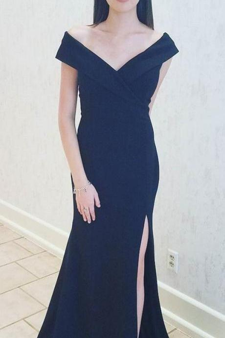 Navy Off the Shoulder Black Mermaid Long Evening Dress with Slit