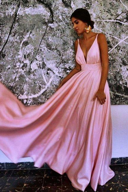 Sexy Evening Dress, V Neck Long Prom Dress, Sleeveless Prom Gown for Party