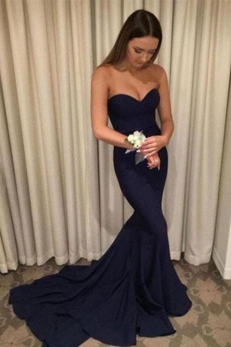 Navy Blue Sweetheart Floor Length Mermaid Bridesmaid Dress, Prom Dress