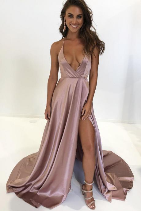 Halter Deep V-Neck Split Long Prom Dress,Sweep Train Evening Dresses