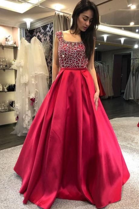 Cap Sleeves Prom Dress, Beaded Prom Dress, Backless Prom Dress, Red Prom Dress, Long Prom Dress