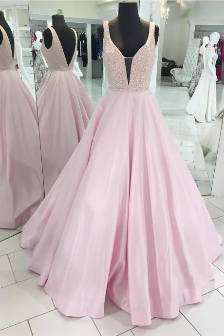 Deep V-Neck Sleeveless Open Back Pink Satin Long Prom/Evening Dress with Beading