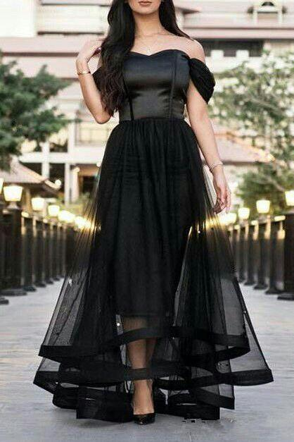 Off The Shoulder Black Tulle Backless Prom Dress