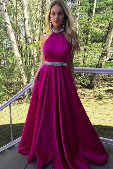 Backless A-Line O-Neck Prom Dresses,Long Prom Dresses,Cheap Prom Dresses
