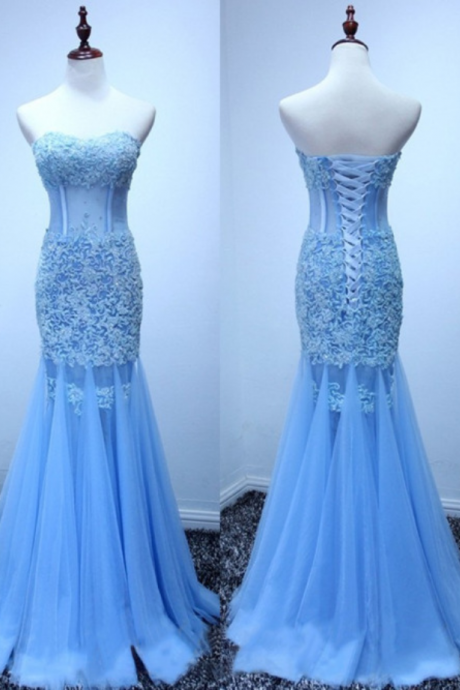 Real Made Mermaid Sexy Appliques Prom Dresses,Long Evening Dresses