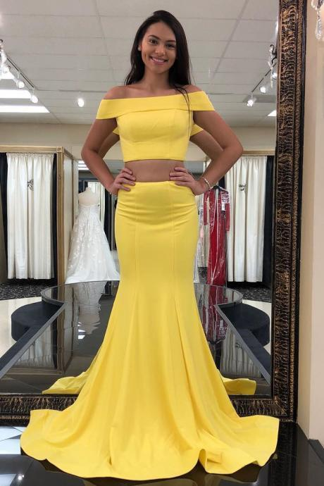Two Piece Off the Shoulder Yellow Mermaid Long Prom Dress Formal Evening Dresses