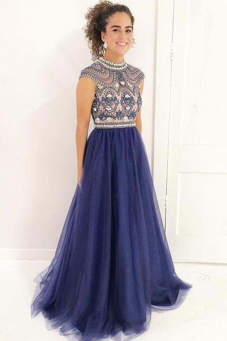 Beaded Top Long Prom Dresses with High Neck,Shine Pageant Dresses