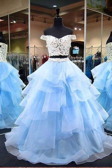 Light Blue Two Pieces Prom Dress With Lace Crop Top