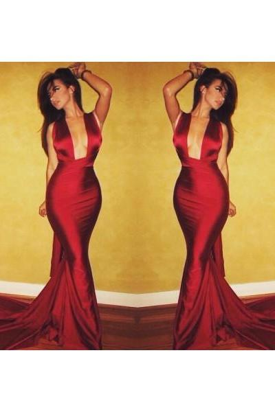 Prom dress Formal dress Deep V Neck Burgundy Illusion Court Train Sheath Column Prom Dress