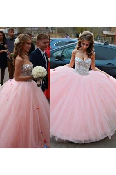 Prom dress Formal dress Crystal Pink Sweetheart Floor Length Tulle Ball Gown Prom Dress
