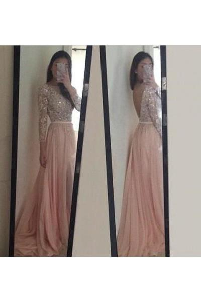 Prom dress Formal dress Long Sleeve Pink Illusion Sweep Train Chiffon A Line Prom Dress