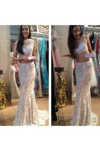 Prom Dress Formal Dress Two Piece Champagne Jewel Court Train Lace Crop Tops Trumpet Mermaid Prom Evening Dress