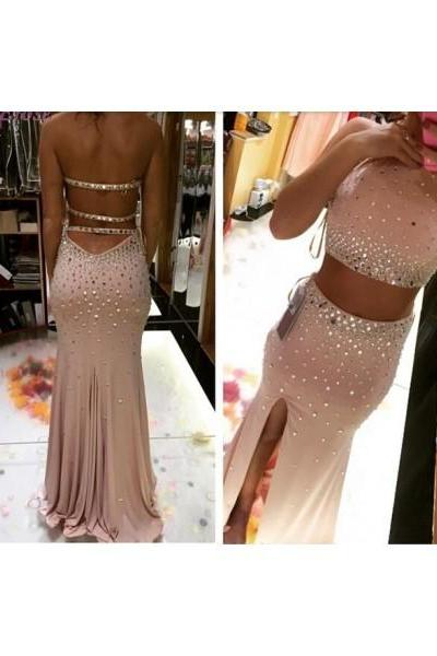 Formal Dress Prom Dress Two Piece High Slit Pink O Neck Crystal Trumpet Mermaid Prom Dress