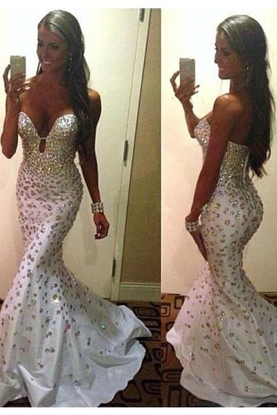 Formal Dress Prom Dress Sweetheart Court Train Satin Trumpet Mermaid Bling Prom Evening Dress