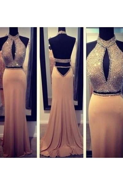 Formal Dress Prom Dress Backless Long Champagne Halter Trumpet Mermaid Prom Dress