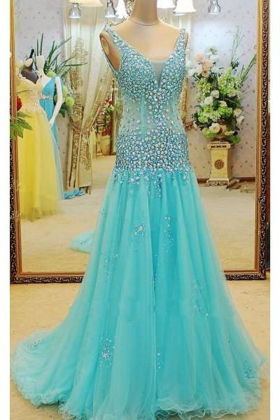Formal Dress Prom Dress Blue V Neck Court Train Tulle A Line Bling Prom Evening Dress