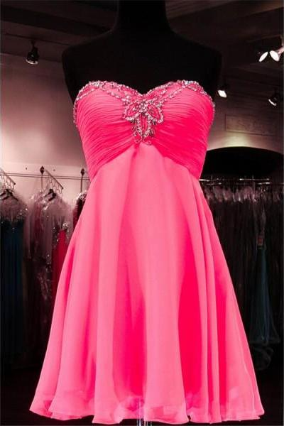 Prom Dress Formal Dress Pink Sweetheart Short Chiffon A Line Homecoming Cocktail Dress