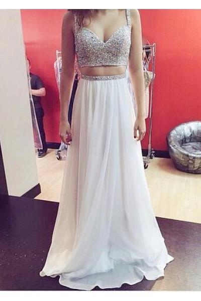 Formal Dress Prom Dress Crop Tops Spaghetti Straps Floor Length Chiffon A Line Two Piece Prom Evening Dress