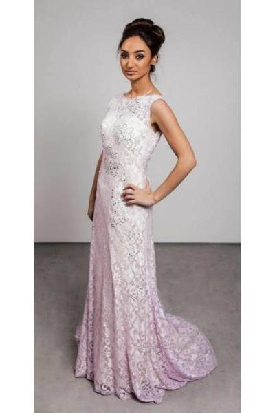 Formal Dress Prom Dress Pink Bateau Neck Sweep Train Lace Sheath Column Prom Evening Dress