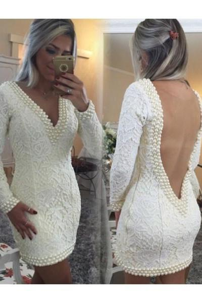 Formal Dress Prom Dress White V Neck Mini Lace Sheath Column Homecoming Cocktail Dress