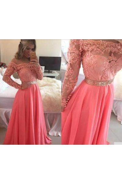 Formal Dress Prom Dress Pink Off The Shoulder Brush Train Chiffon A Line Prom Evening Dress