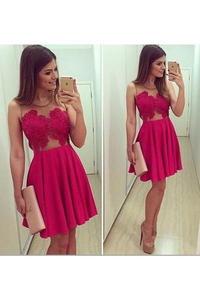 Formal Dress Prom Dress Red Illusion Short Lace A Line Homecoming Cocktail Dress