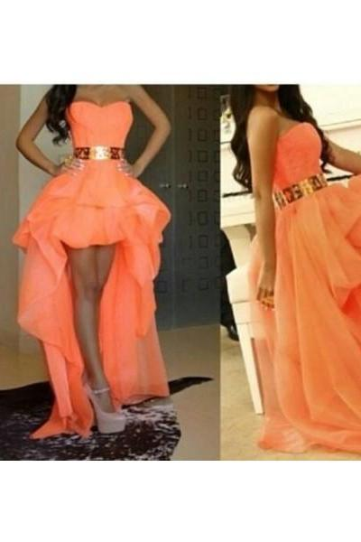 Formal Dress Prom Dress Orange Sweetheart High Low Organza A Line Prom Evening Dress