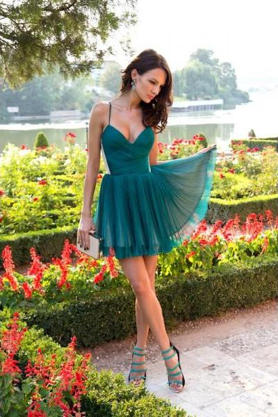 Formal Dresses Prom Dresses Green Spaghetti Straps Short Tulle A Line Homecoming Cocktail Dress