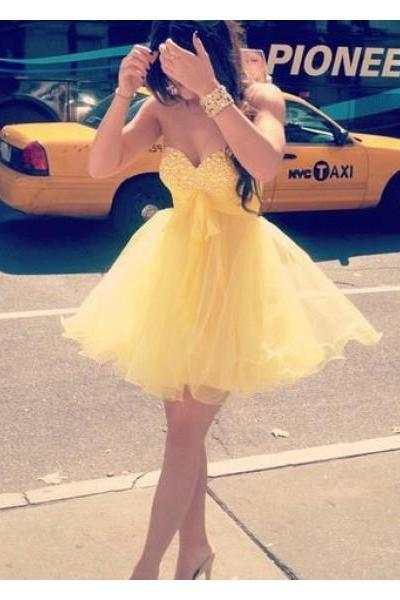 Prom Dress Formal Dress Cute Yellow Sweetheart Mini Organza Homecoming Cocktail Dress