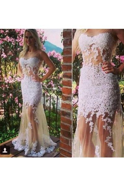 Free Shipping Formal Dress Prom Dress See Through Champagne Illusion Neck Long Tulle Trumpet Mermaid Prom Evening Dress