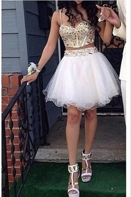 Formal Dresses Prom Dress Two Piece Beading Party Dress Homecoming Dresses Graduation Dress