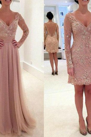 Formal Dresses Prom Dress v neck champagne long sleeve lace 2 way wearing two piece prom dress