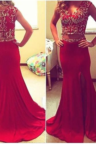 Formal Dresses Prom Dress 2 Piece Prom Gown,Two Piece Prom Dresses burgundy two piece prom dress