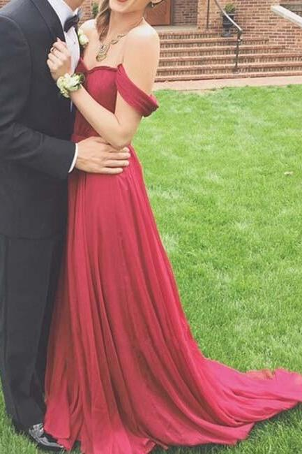 Burgundy Maroon Scarlet Formal Dress Prom Dress Pretty Off-Shoulder Burgundy Sweetheart Prom Gown 2016