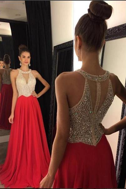 Prom Dress Prom Dress 2016 Red Chiffon Prom Dresses Halter V Neck Sleeveless Beading Long A-line Evening Gowns