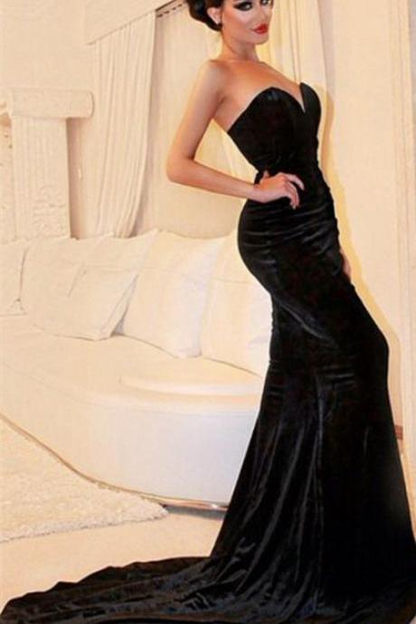 Evening dresses formal dresses Sexy Sweetheart Mermaid Black Velvet Prom Dresses 2016