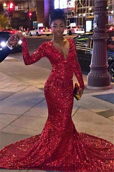 2016 Sequins Mermaid Prom Dresses Deep V Neck Long Sleeves Red Shiny Long Evening Gowns Formal dresses
