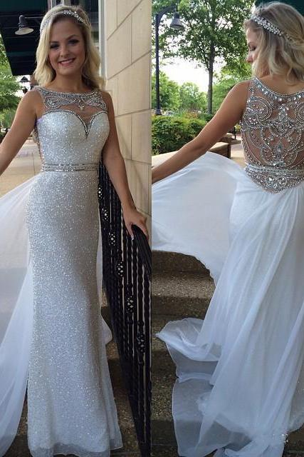 2016 Sequins Sheath Prom Dresses Crystals Beaded with Overskirts White Gorgeous Evening Gowns Formal dresses