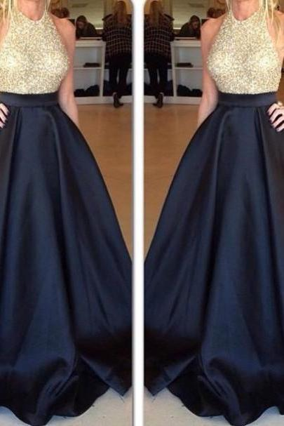 Prom Dress Formal Dress halter sequin sleeveless a line gold and black satin evening dress