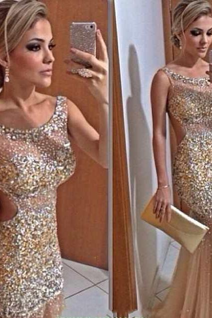 Prom Dress Formal Dress luxury sequin beading mermaid style trumpet illusion evening dress
