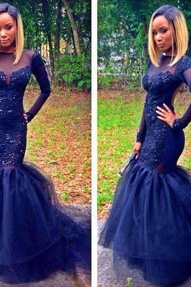 Prom dress Formal dress illusion long sleeve royal blue tulle trumpet mermaid style evening dresses 2016