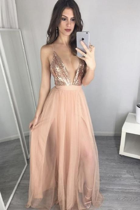 Sexy V-Neck Sequin Tulle Champagne Gold Top Prom Dresses Evening Formal Dresses 2017