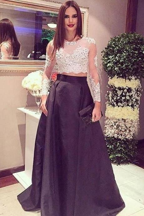 Stunning Two Piece Long Sleeves Crop Top 2017 New Designer Black Prom Dress with Lace Beading