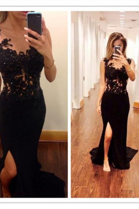 Black Lace Beading Front Split Sexy Handmade Mermaid Prom Dresses,Long Party Gowns Evening Formal Dresses 2017