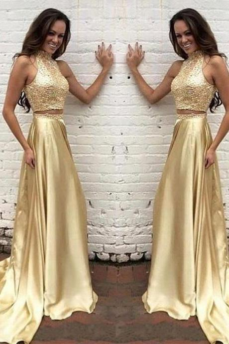 Modern High Neck Beading Two-pieces 2 piece satin beading luxury Gold Long Prom Dress Evening Formal dresses 2017