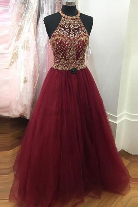 Burgundy A-line Beading Jewel Sleeveless Sweep Train Prom Dress Ball Gown Evening Formal Dresses