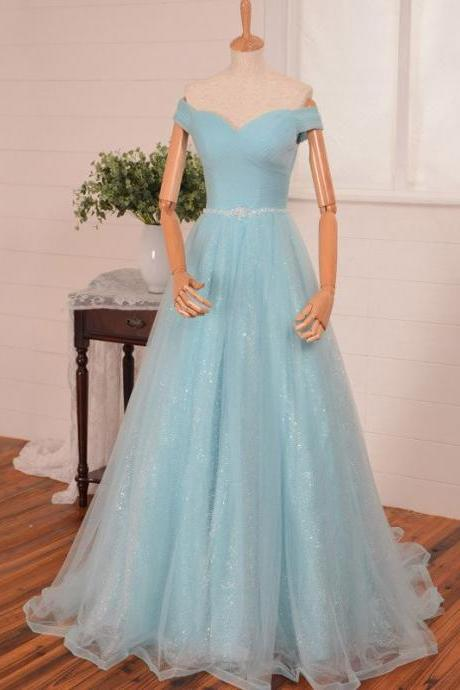 Light Blue Off-The-Shoulder Floor Length Tulle Ball Gown Featuring Beaded Embellished Belt, Formal Dress, Prom Dress