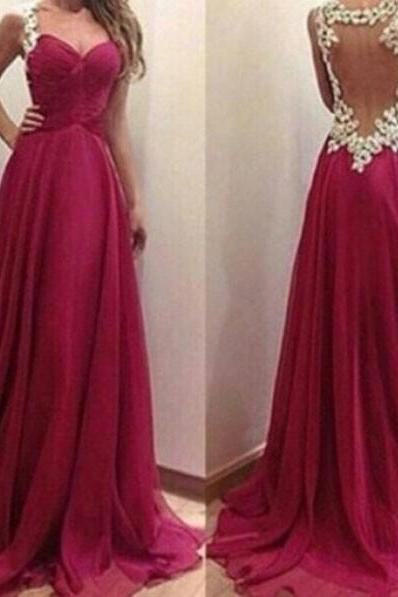Elegant Prom/Evening Dress - Burgundy A-Line Straps with Beading 2017