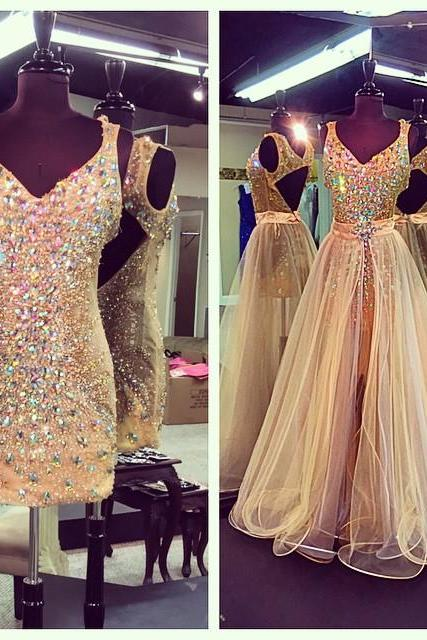 New Arrival Prom Dress,Modest Prom Dress,Crystal Beaded V Neck Champagne Prom Dresses With Detachable Skirts 2017